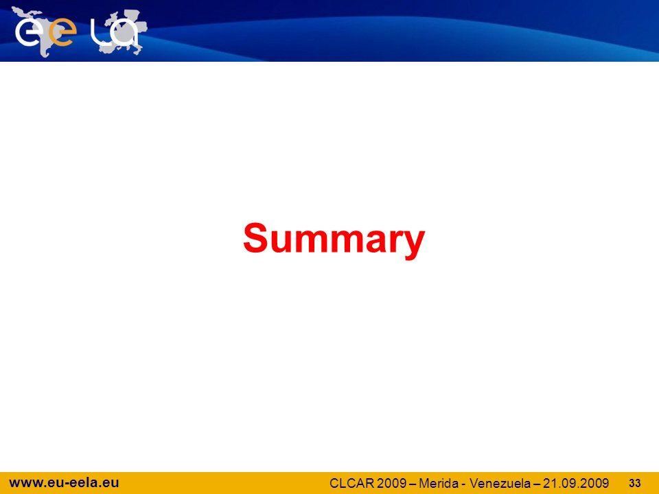 www.eu-eela.eu 33 Summary CLCAR 2009 – Merida - Venezuela – 21.09.2009