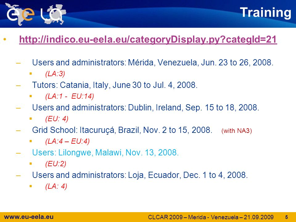 www.eu-eela.eu Next for 2009 –On Line Grid Tutorials –2nd EELA-2 Grid School in Cocoyoc, Mexico, Sep 28 to Oct 10 together with the EPIKH project (www.epikh.eu)www.epikh.eu –EELA-2 Tutorial in Buenos Aires, Argentina, Nov 02-06 –EELA-2 Tutorial in Santiago de Chile, Chile, Nov 09-13 .