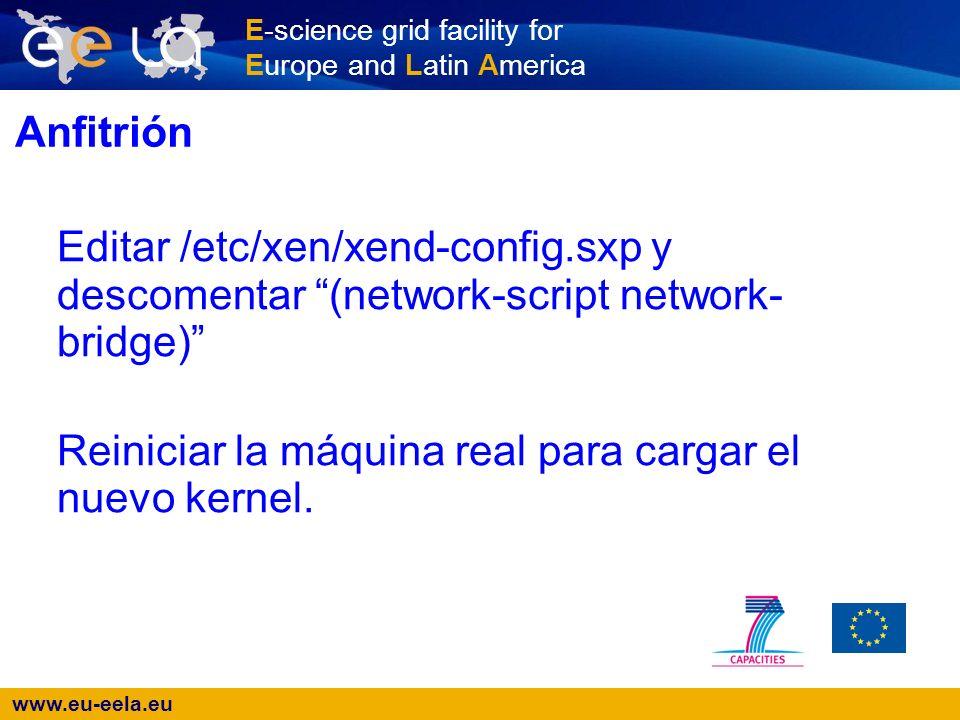 www.eu-eela.eu E-science grid facility for Europe and Latin America Anfitrión Verificar el kernel que está corriendo: # uname -a Verificar las máquinas que están corriendo: # xm list