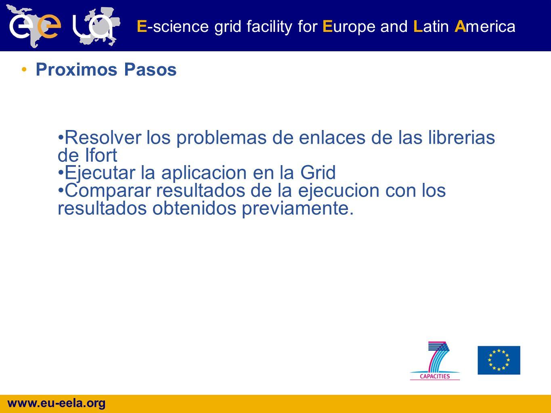 www.eu-eela.org E-science grid facility for Europe and Latin America Proximos Pasos Resolver los problemas de enlaces de las librerias de Ifort Ejecut