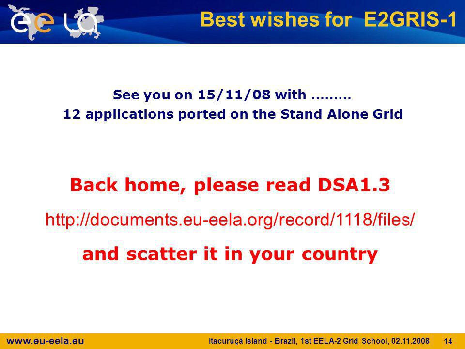 www.eu-eela.eu Itacuruçá Island - Brazil, 1st EELA-2 Grid School, 02.11.2008 14 Best wishes for E2GRIS-1 See you on 15/11/08 with ……… 12 applications
