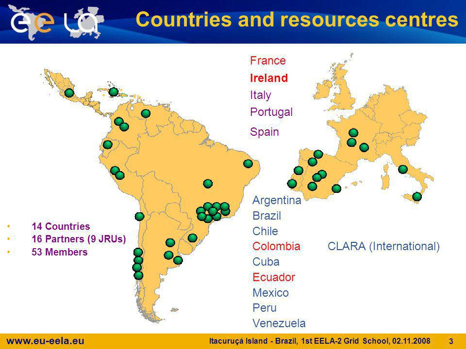www.eu-eela.eu Itacuruçá Island - Brazil, 1st EELA-2 Grid School, 02.11.2008 3 Countries and resources centres 14 Countries 16 Partners (9 JRUs) 53 Me