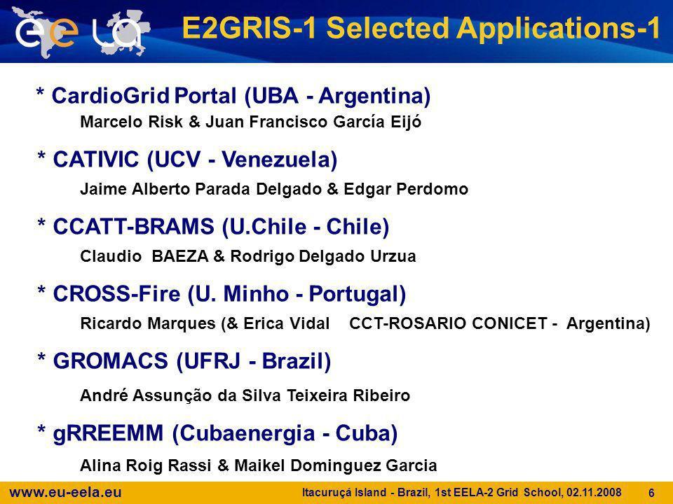 www.eu-eela.eu Itacuruçá Island - Brazil, 1st EELA-2 Grid School, 02.11.2008 7 E2GRIS-1 Selected Applications-2 * Heart Simulator (UFJF - Brazil) Ricardo Silva Campos & Gustavo Miranda Teixeira * HIRLAM+WAM (CMRC - Ireland) Yassine Lassoued & Ali Al Othman * HPC Structure (CIP - Peru) Omar Martin Palomino Huamani & Rolando Navarro * InterproScan and/or HMMER (UNIANDES - Colombia) Daniel Alberto Burbano & Michael Pérez * META-Dock (UNAM - Mexico) Jérôme Verleyen & Juan Manuel Hurtado Ramirez * Satellite Images Clas.