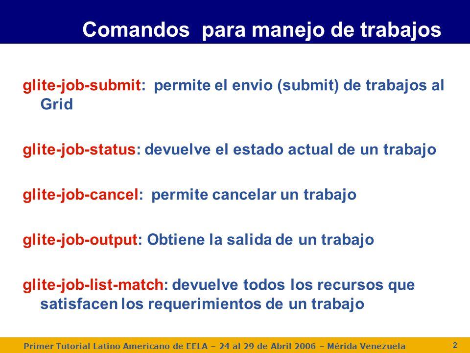 Primer Tutorial Latino Americano de EELA – 24 al 29 de Abril 2006 – Mérida Venezuela 2 Comandos para manejo de trabajos glite-job-submit: permite el envio (submit) de trabajos al Grid glite-job-status: devuelve el estado actual de un trabajo glite-job-cancel: permite cancelar un trabajo glite-job-output: Obtiene la salida de un trabajo glite-job-list-match: devuelve todos los recursos que satisfacen los requerimientos de un trabajo