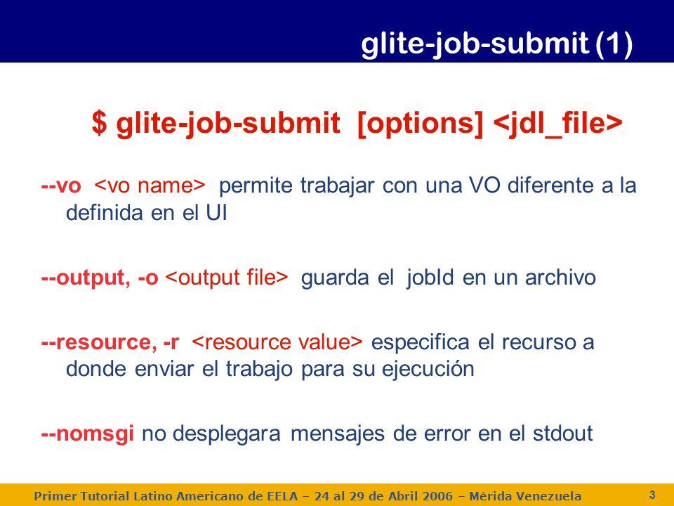 Primer Tutorial Latino Americano de EELA – 24 al 29 de Abril 2006 – Mérida Venezuela 3 $ glite-job-submit [options] --vo permite trabajar con una VO diferente a la definida en el UI --output, -o guarda el jobId en un archivo --resource, -r especifica el recurso a donde enviar el trabajo para su ejecución --nomsgi no desplegara mensajes de error en el stdout glite-job-submit (1)