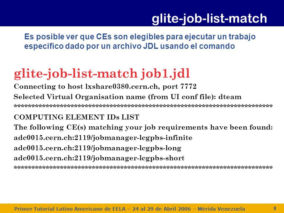 Primer Tutorial Latino Americano de EELA – 24 al 29 de Abril 2006 – Mérida Venezuela 9 Un trabajo puede ser enviado a un recurso especifico usando el comando glite-job-submit con la opción -r glite-job-submit –r adc0015.cern.ch:2119/jobmanager-lcgpbs- infinite –o jobID job1.jdl ===============glite-job-submit Success ================ The job has been successfully submitted to the Network Server.