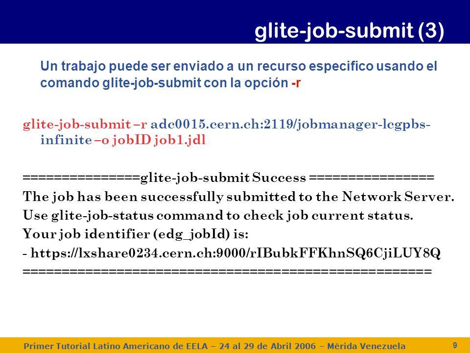 Primer Tutorial Latino Americano de EELA – 24 al 29 de Abril 2006 – Mérida Venezuela 10 Un trabajo puede ser cancelado antes de finalizar usando el comando glite-job-cancel glite-job-cancel https://lxshare0234.cern.ch:9000/dAE162is6EStca0VqhVkog https://lxshare0234.cern.ch:9000/dAE162is6EStca0VqhVkog Are you sure you want to remove specified job(s).