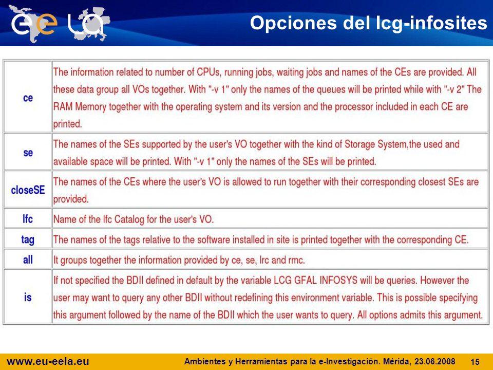 www.eu-eela.eu Ambientes y Herramientas para la e-Investigación. Mérida, 23.06.2008 15 Opciones del lcg-infosites