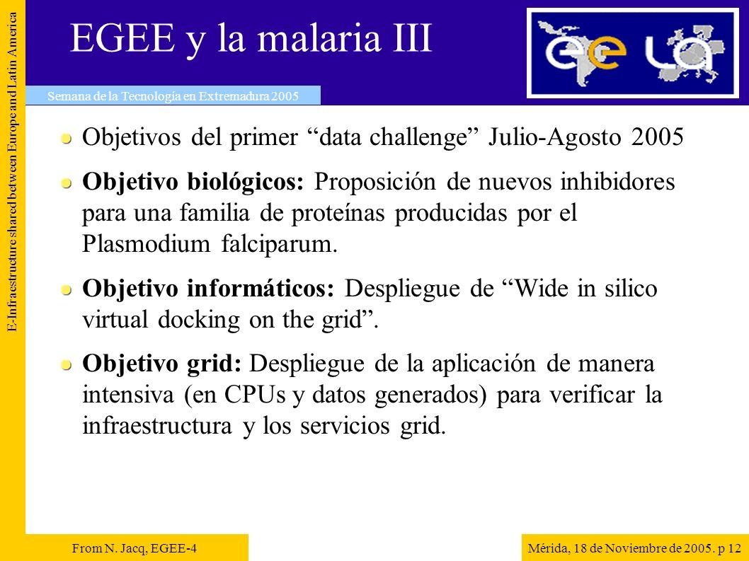 EGEE y la malaria III Objetivos del primer data challenge Julio-Agosto 2005 Objetivo biológicos: Proposición de nuevos inhibidores para una familia de proteínas producidas por el Plasmodium falciparum.
