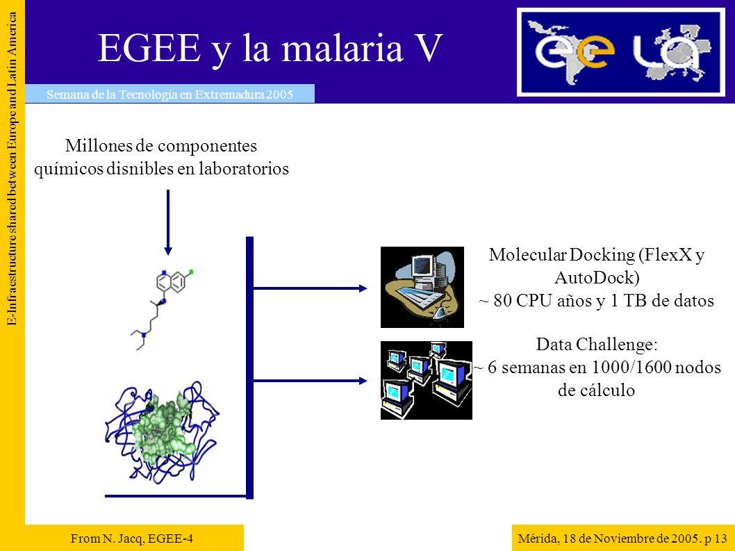 EGEE y la malaria V E-Infraestructure shared between Europe and Latin America Mérida, 18 de Noviembre de 2005. p 13 Semana de la Tecnología en Extrema