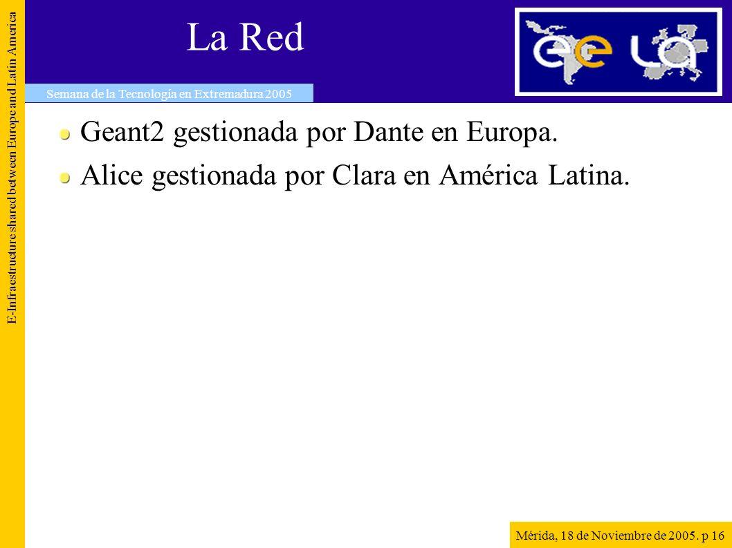 La Red Geant2 gestionada por Dante en Europa. Alice gestionada por Clara en América Latina.