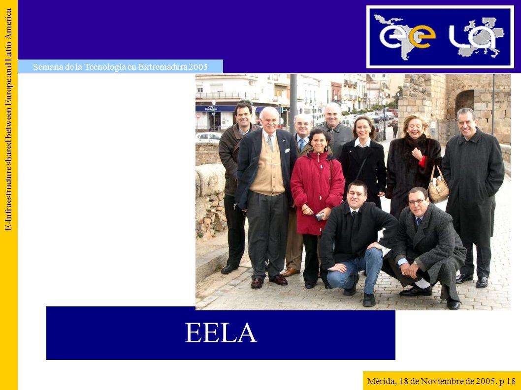 EELA E-Infraestructure shared between Europe and Latin America Semana de la Tecnología en Extremadura 2005 Mérida, 18 de Noviembre de 2005. p 18