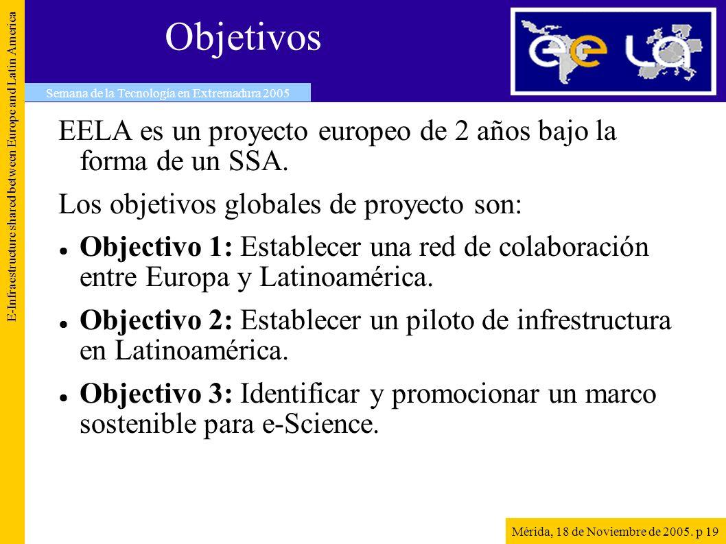 Objetivos EELA es un proyecto europeo de 2 años bajo la forma de un SSA.