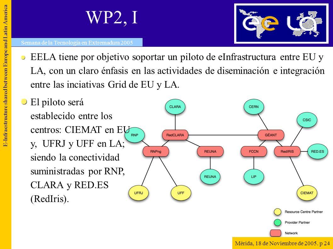 WP2, I EELA tiene por objetivo soportar un piloto de eInfrastructura entre EU y LA, con un claro énfasis en las actividades de diseminación e integración entre las inciativas Grid de EU y LA.