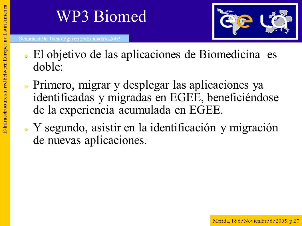 WP3 Biomed El objetivo de las aplicaciones de Biomedicina es doble: Primero, migrar y desplegar las aplicaciones ya identificadas y migradas en EGEE, beneficiéndose de la experiencia acumulada en EGEE.