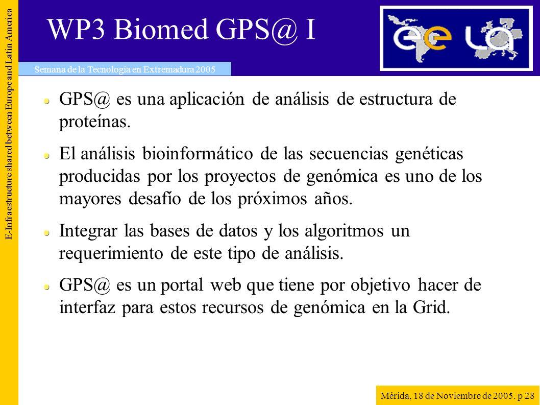 WP3 Biomed GPS@ I GPS@ es una aplicación de análisis de estructura de proteínas.