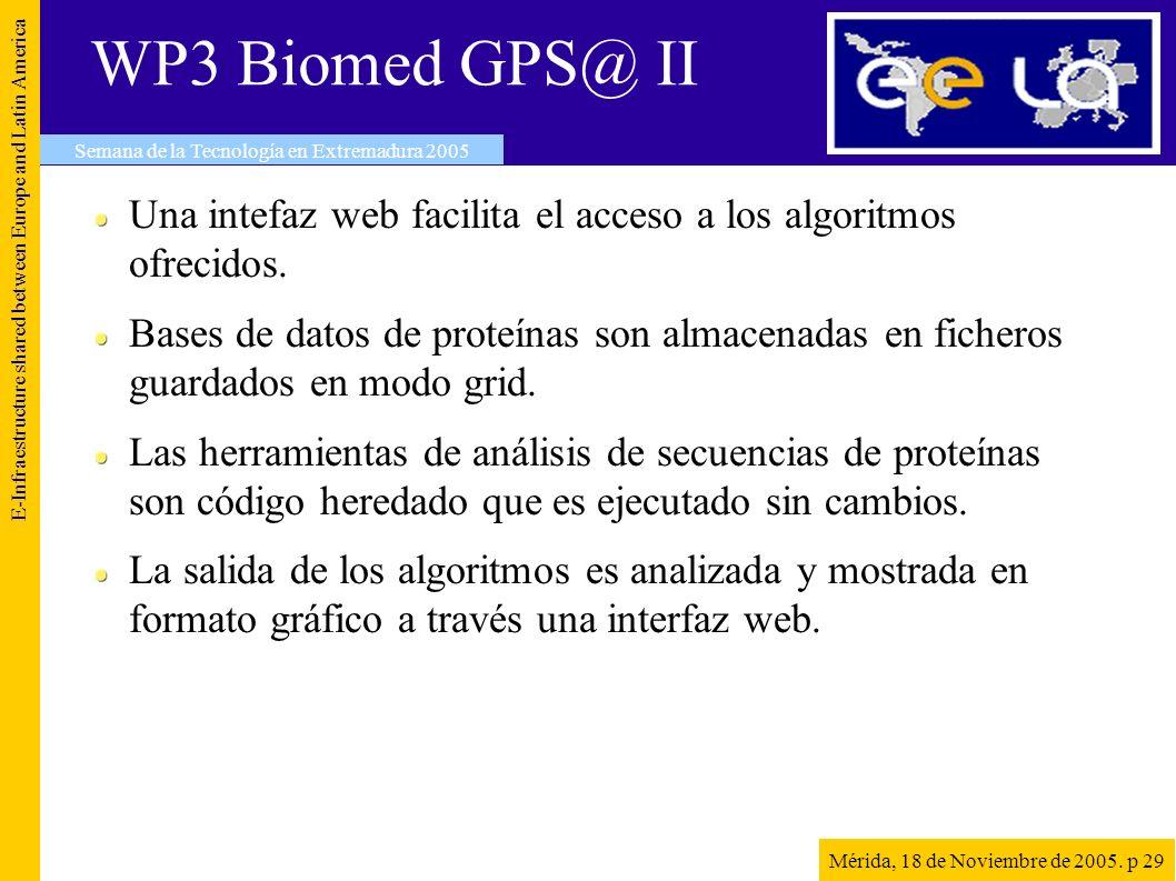 WP3 Biomed GPS@ II Una intefaz web facilita el acceso a los algoritmos ofrecidos.