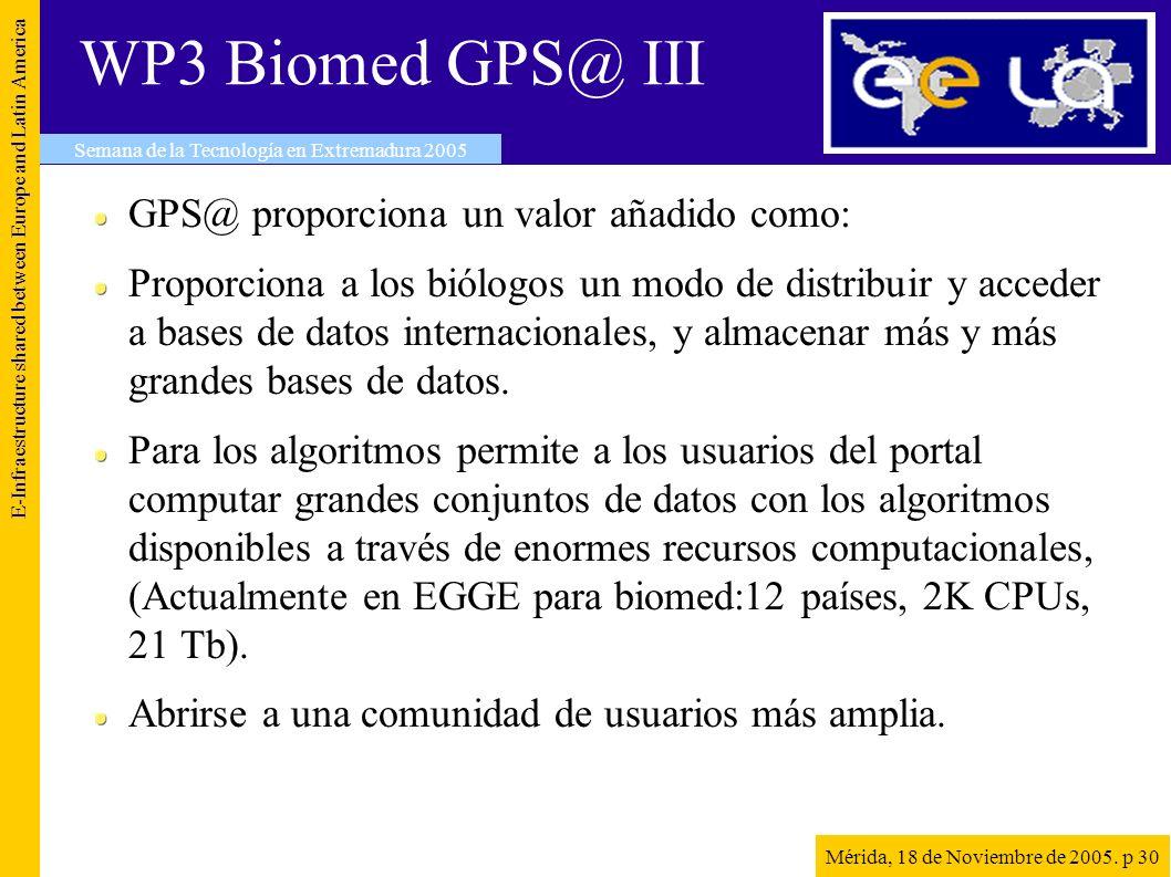 WP3 Biomed GPS@ III GPS@ proporciona un valor añadido como: Proporciona a los biólogos un modo de distribuir y acceder a bases de datos internacionales, y almacenar más y más grandes bases de datos.