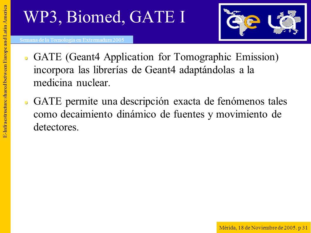 WP3, Biomed, GATE I GATE (Geant4 Application for Tomographic Emission) incorpora las librerías de Geant4 adaptándolas a la medicina nuclear. GATE perm