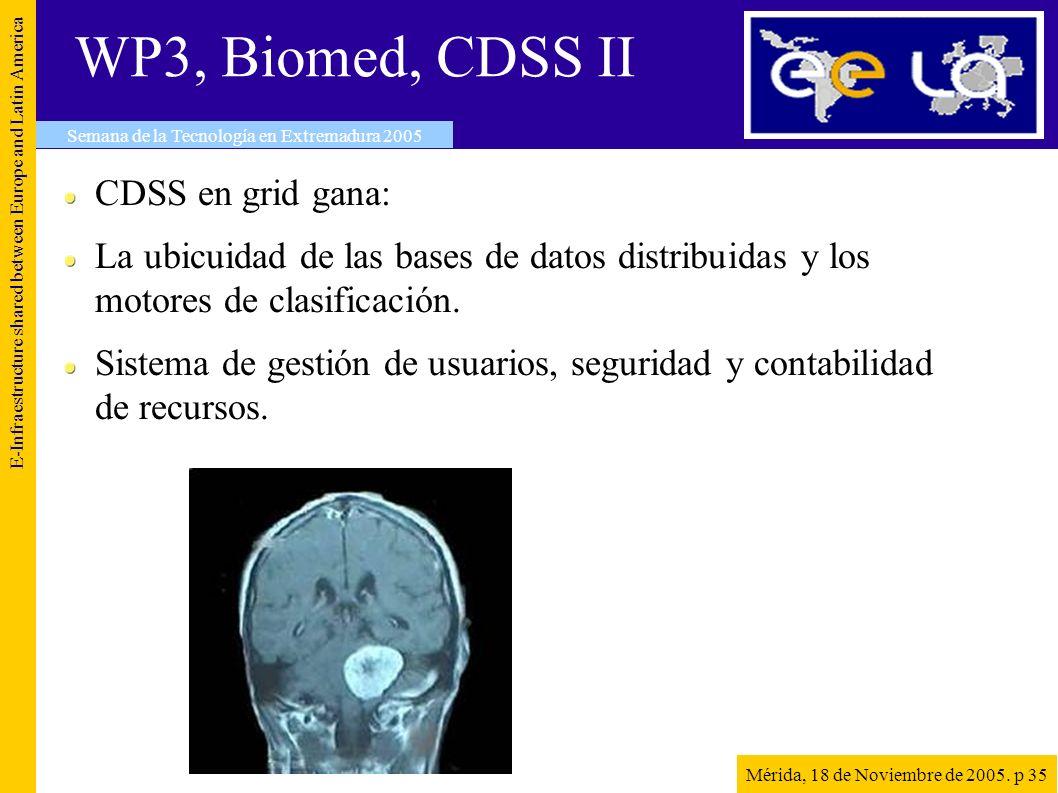 WP3, Biomed, CDSS II E-Infraestructure shared between Europe and Latin America Semana de la Tecnología en Extremadura 2005 Mérida, 18 de Noviembre de 2005.
