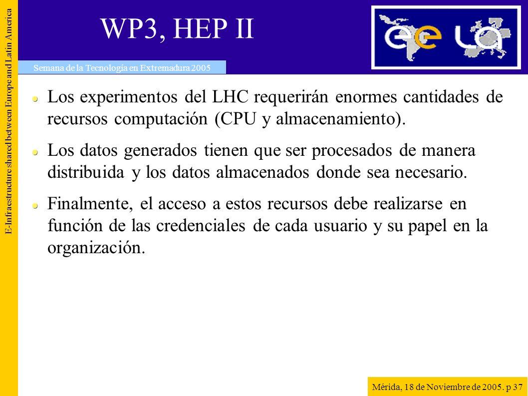 WP3, HEP II E-Infraestructure shared between Europe and Latin America Semana de la Tecnología en Extremadura 2005 Mérida, 18 de Noviembre de 2005. p 3