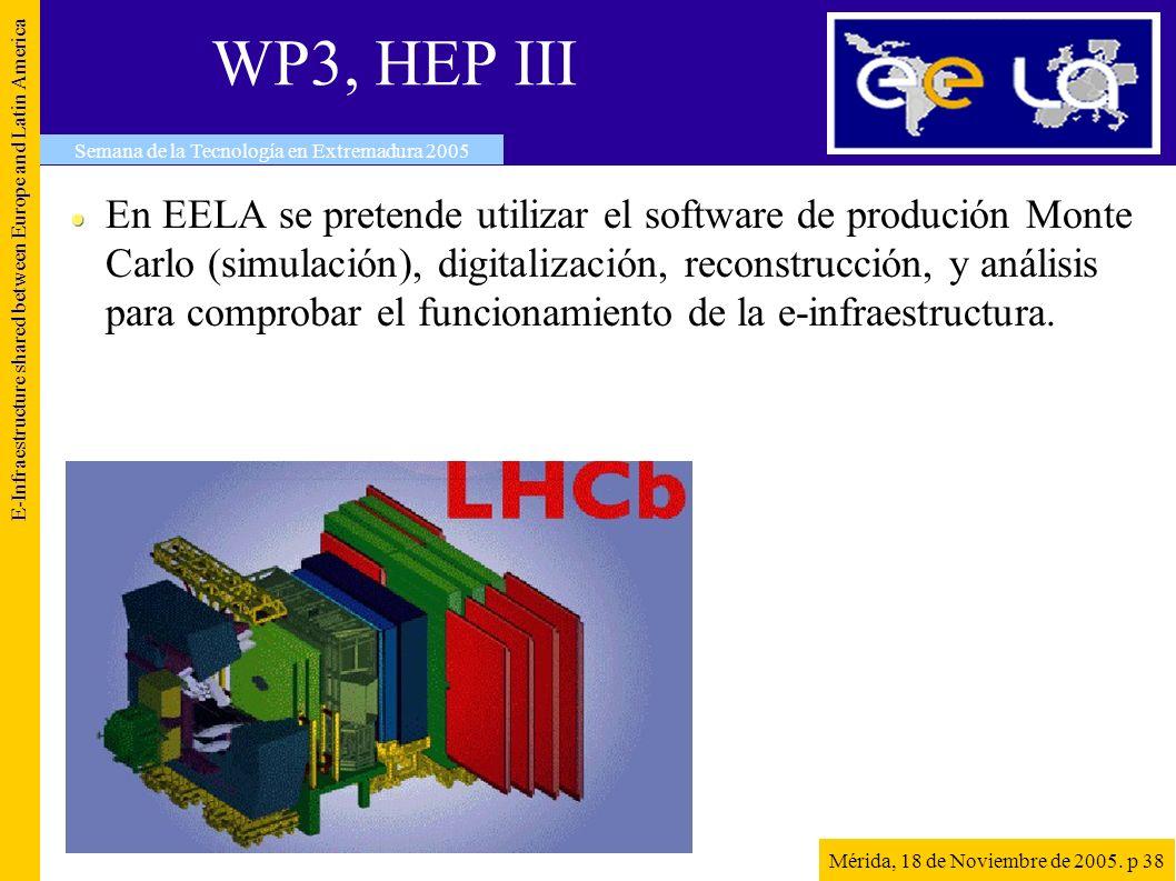 WP3, HEP III E-Infraestructure shared between Europe and Latin America Semana de la Tecnología en Extremadura 2005 Mérida, 18 de Noviembre de 2005. p