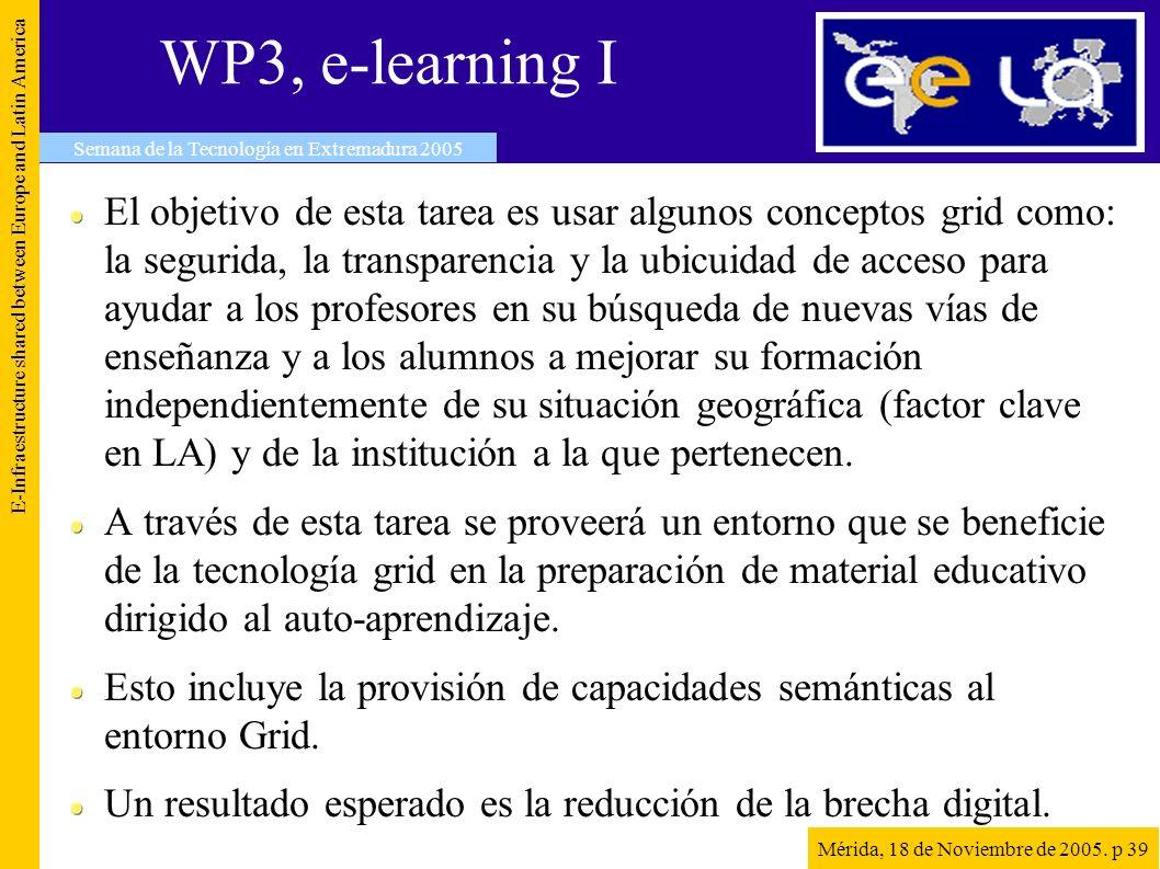 WP3, e-learning I E-Infraestructure shared between Europe and Latin America Semana de la Tecnología en Extremadura 2005 Mérida, 18 de Noviembre de 200