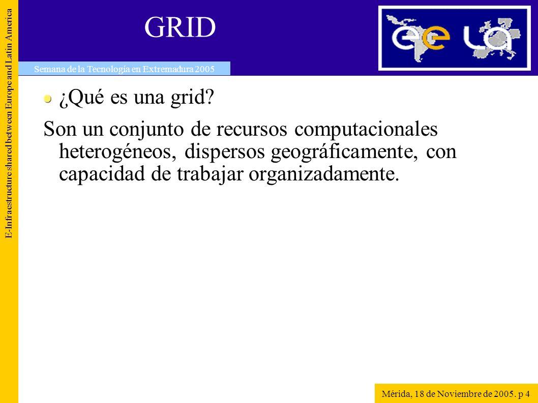 GRID E-Infraestructure shared between Europe and Latin America Mérida, 18 de Noviembre de 2005.