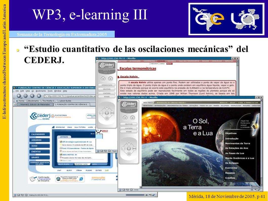 WP3, e-learning III E-Infraestructure shared between Europe and Latin America Semana de la Tecnología en Extremadura 2005 Mérida, 18 de Noviembre de 2005.