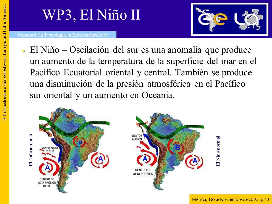 WP3, El Niño II El Niño – Oscilación del sur es una anomalía que produce un aumento de la temperatura de la superficie del mar en el Pacífico Ecuatorial oriental y central.