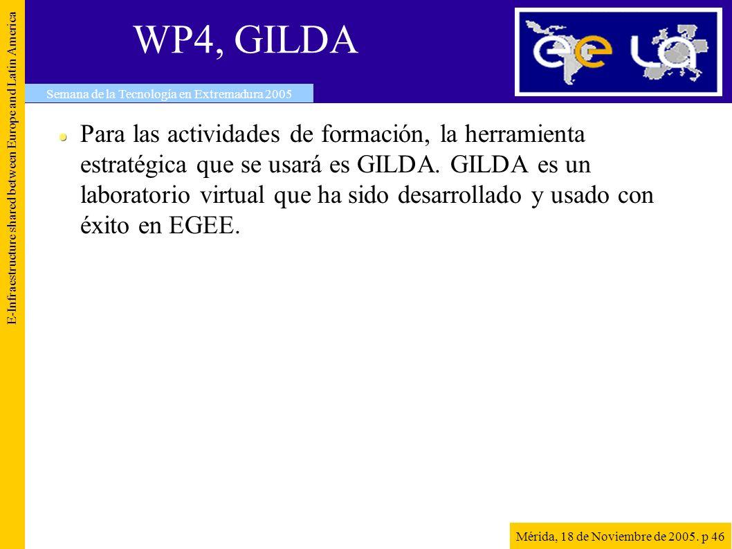 WP4, GILDA Para las actividades de formación, la herramienta estratégica que se usará es GILDA.
