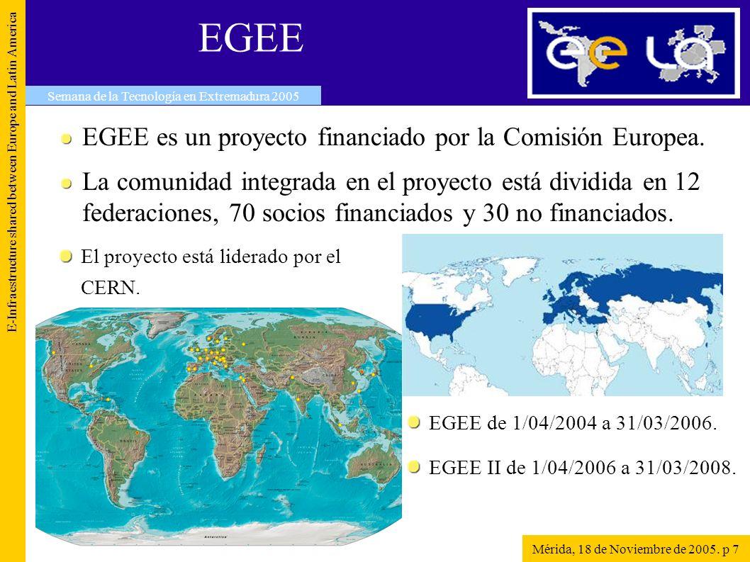 EELA E-Infraestructure shared between Europe and Latin America Semana de la Tecnología en Extremadura 2005 Mérida, 18 de Noviembre de 2005.