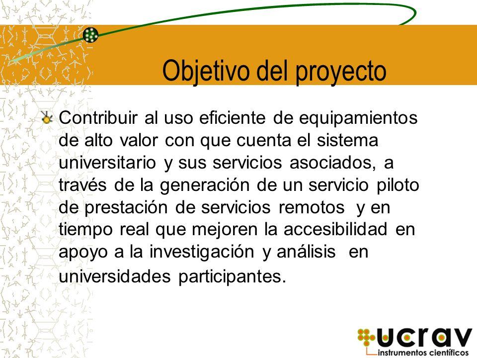 Objetivo del proyecto Contribuir al uso eficiente de equipamientos de alto valor con que cuenta el sistema universitario y sus servicios asociados, a