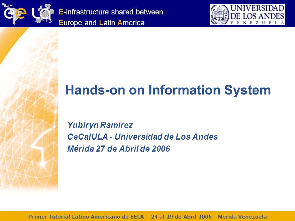 Primer Tutorial Latino Americano de EELA – 24 al 29 de Abril 2006 – Mérida Venezuela 2 lcg-infosites