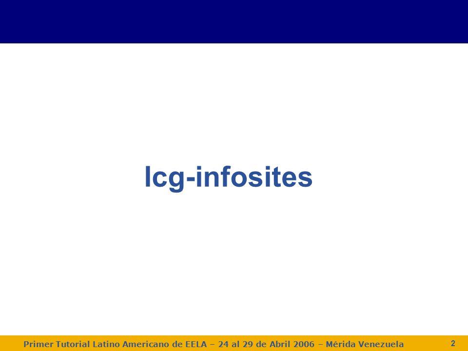 Primer Tutorial Latino Americano de EELA – 24 al 29 de Abril 2006 – Mérida Venezuela 3 Ejercicio 1 Obtener información sobre los CEs $ lcg-infosites - -vo gilda ce