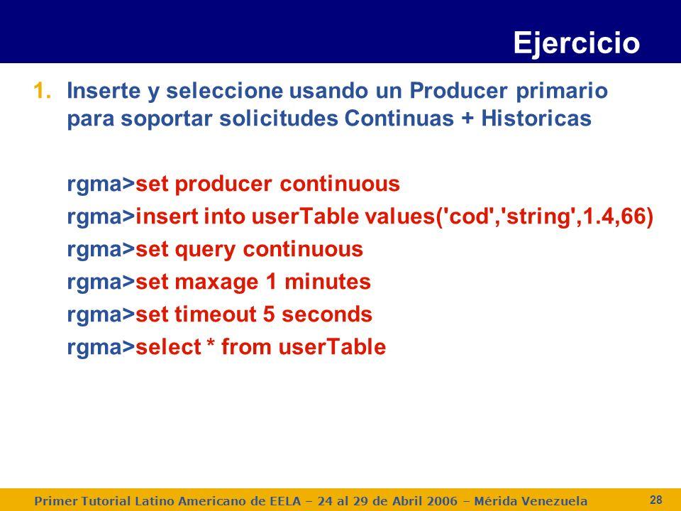 Primer Tutorial Latino Americano de EELA – 24 al 29 de Abril 2006 – Mérida Venezuela 28 1.Inserte y seleccione usando un Producer primario para soport