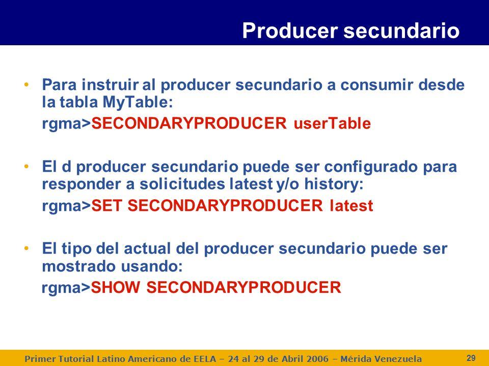 Primer Tutorial Latino Americano de EELA – 24 al 29 de Abril 2006 – Mérida Venezuela 29 Para instruir al producer secundario a consumir desde la tabla