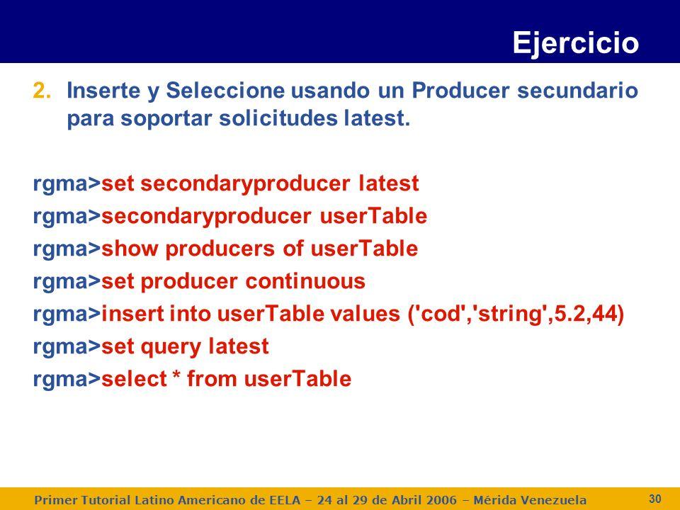 Primer Tutorial Latino Americano de EELA – 24 al 29 de Abril 2006 – Mérida Venezuela 30 2.Inserte y Seleccione usando un Producer secundario para soportar solicitudes latest.