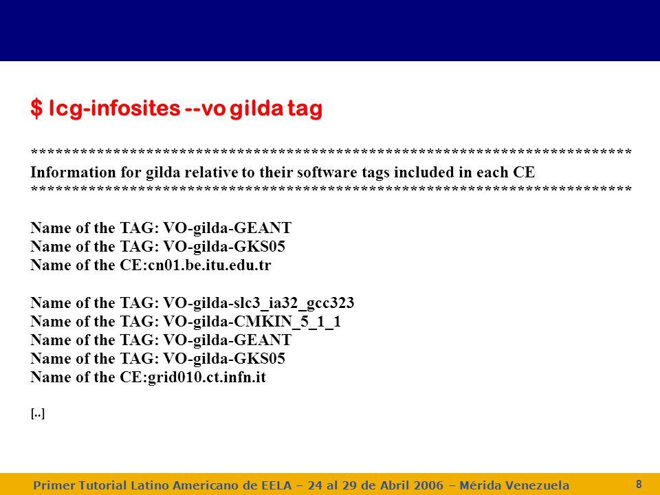 Primer Tutorial Latino Americano de EELA – 24 al 29 de Abril 2006 – Mérida Venezuela 9 Opciones del lcg-infosites