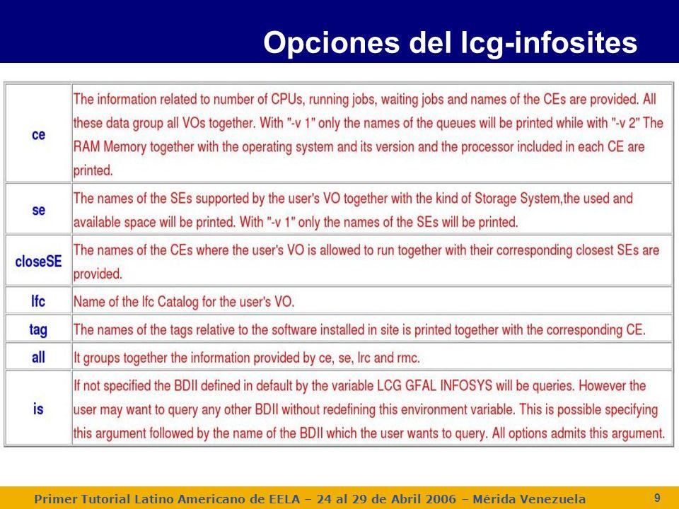 Primer Tutorial Latino Americano de EELA – 24 al 29 de Abril 2006 – Mérida Venezuela 10 lcg-info