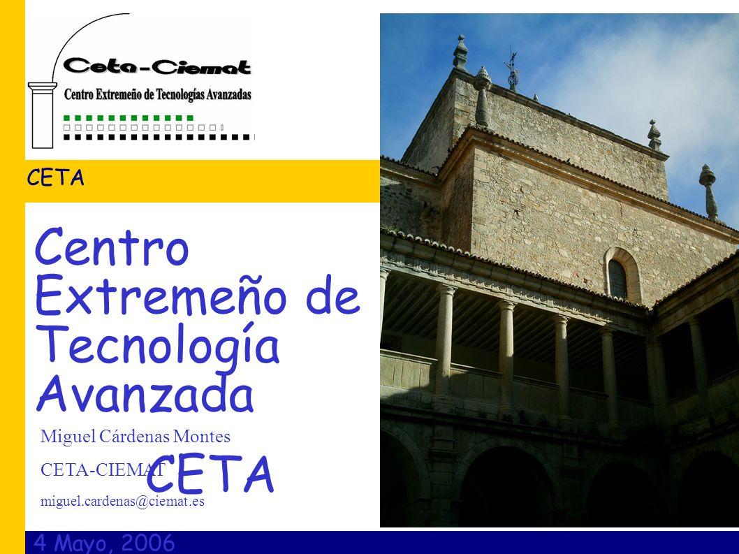 4 Mayo, 2006 CETA Miguel Cárdenas Montes CETA-CIEMAT miguel.cardenas@ciemat.es Centro Extremeño de Tecnología Avanzada CETA