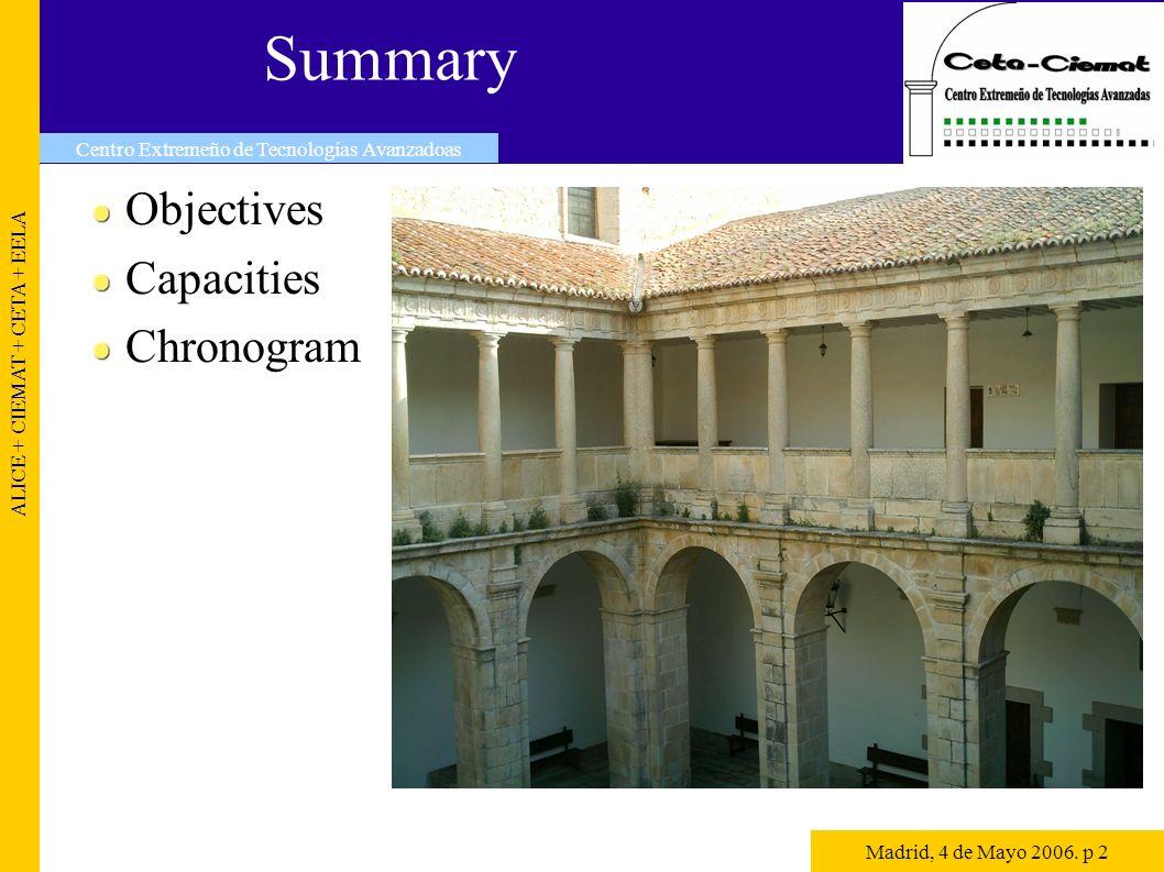 Summary Objectives Capacities Chronogram ALICE + CIEMAT + CETA + EELA Centro Extremeño de Tecnologías Avanzadoas Madrid, 4 de Mayo 2006.