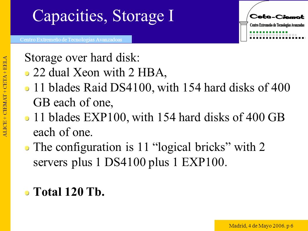 Capacities, Storage II Storage over tape: IBM LTO tape library 3584, with 4 drivers, and 400 tapes units of 400 GB.