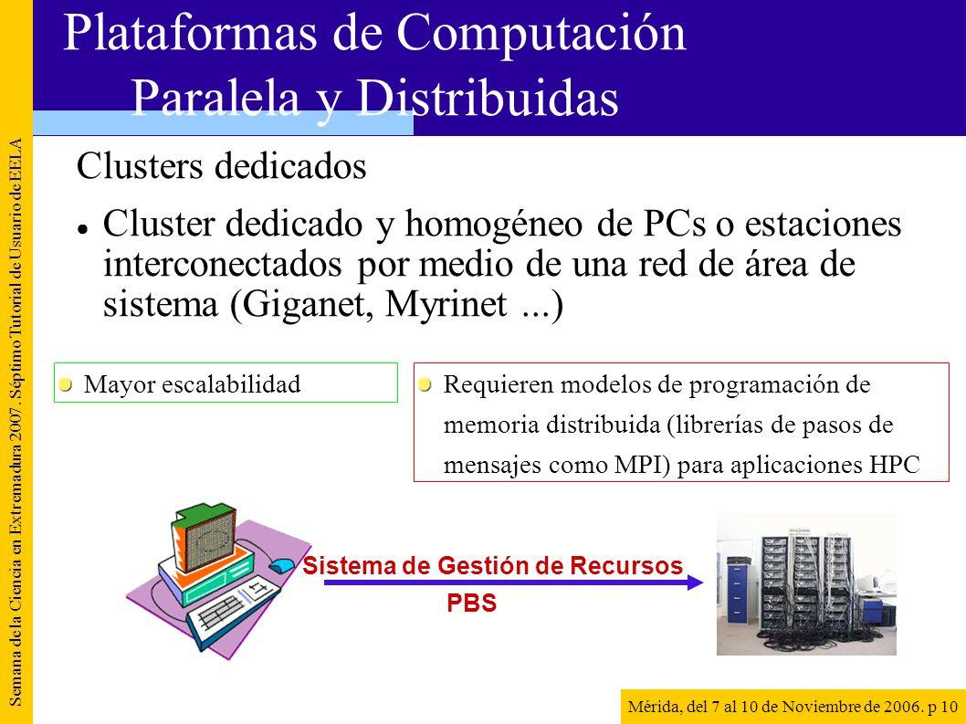 Clusters dedicados Cluster dedicado y homogéneo de PCs o estaciones interconectados por medio de una red de área de sistema (Giganet, Myrinet...) Sema