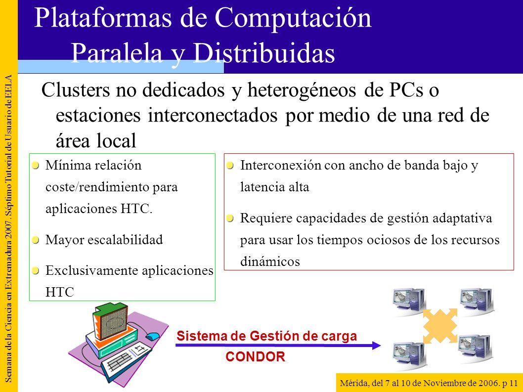 Clusters no dedicados y heterogéneos de PCs o estaciones interconectados por medio de una red de área local Semana de la Ciencia en Extremadura 2007.