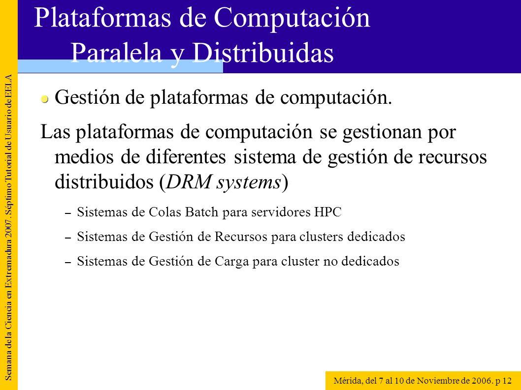 Gestión de plataformas de computación. Las plataformas de computación se gestionan por medios de diferentes sistema de gestión de recursos distribuido