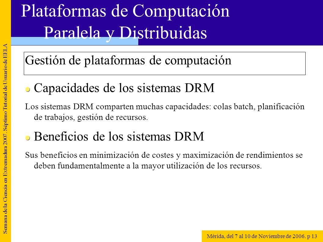 Gestión de plataformas de computación Semana de la Ciencia en Extremadura 2007. Séptimo Tutorial de Usuario de EELA Mérida, del 7 al 10 de Noviembre d