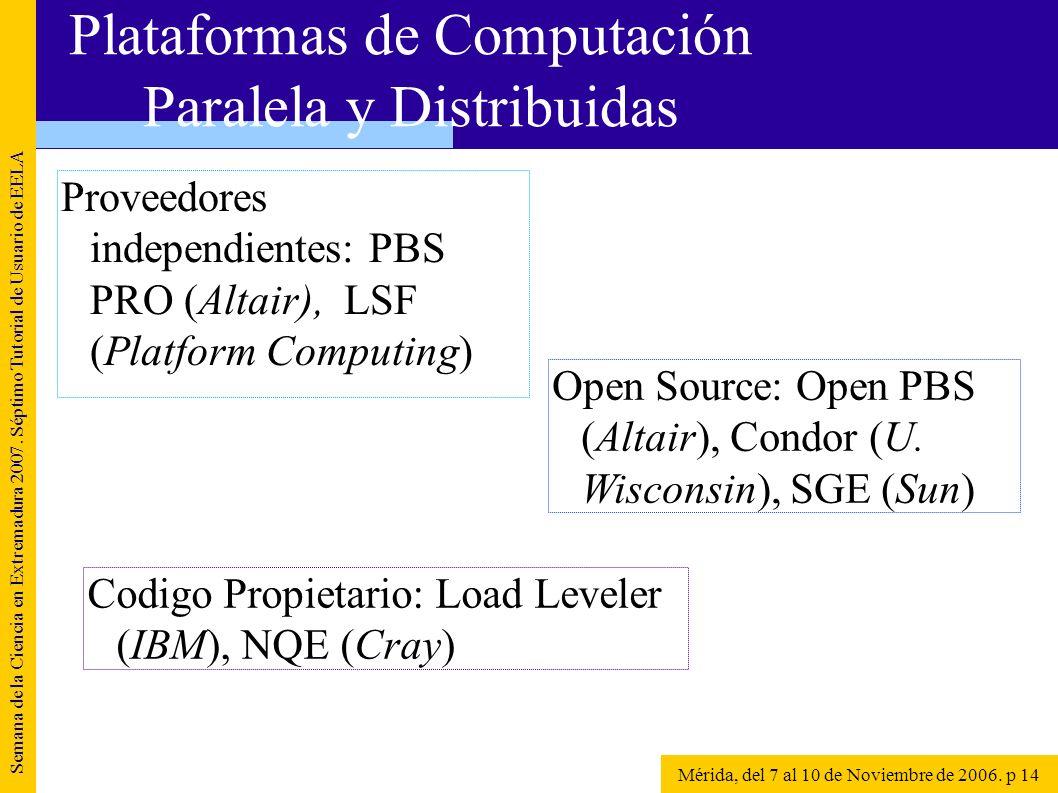 Proveedores independientes: PBS PRO (Altair), LSF (Platform Computing) Semana de la Ciencia en Extremadura 2007. Séptimo Tutorial de Usuario de EELA M