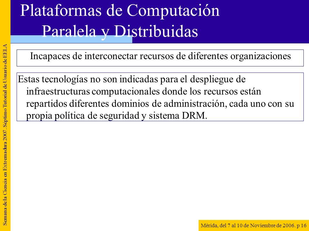 Incapaces de interconectar recursos de diferentes organizaciones Semana de la Ciencia en Extremadura 2007. Séptimo Tutorial de Usuario de EELA Mérida,