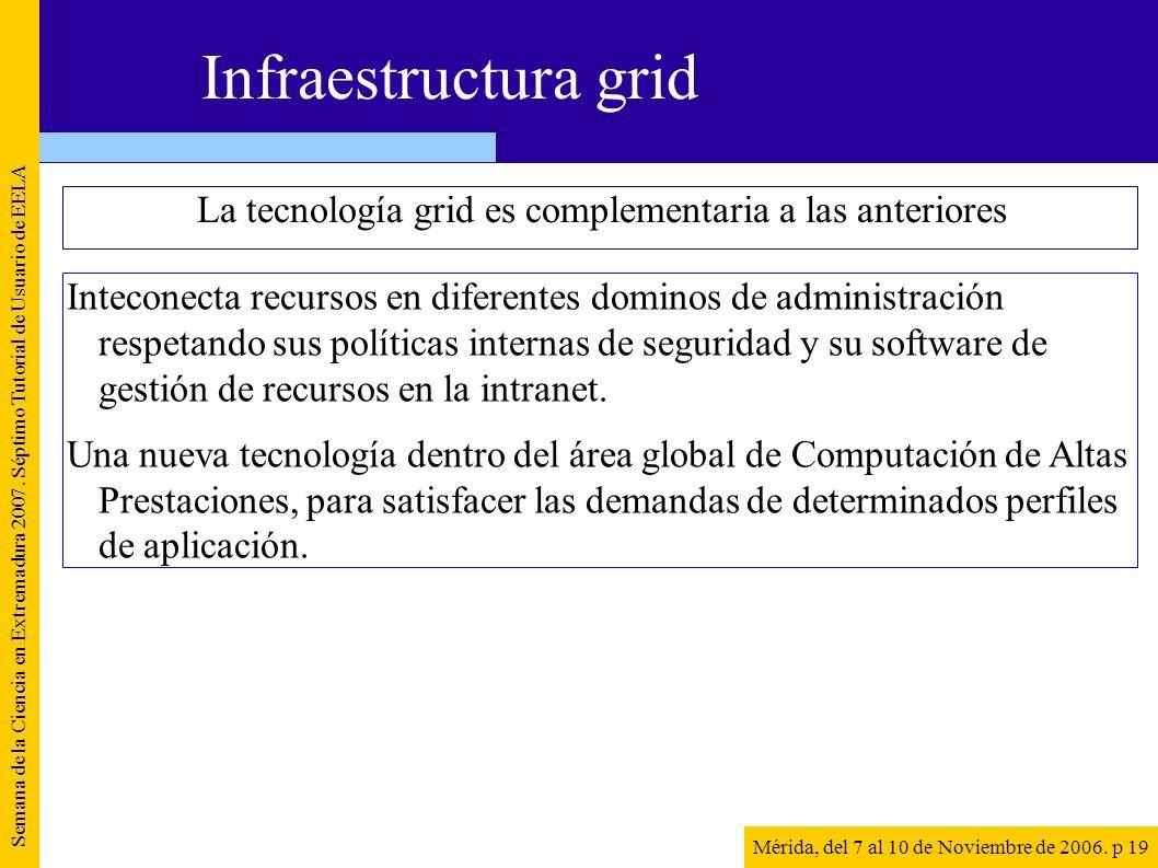 La tecnología grid es complementaria a las anteriores Semana de la Ciencia en Extremadura 2007. Séptimo Tutorial de Usuario de EELA Mérida, del 7 al 1